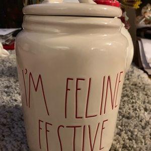 Rae Dunn I'm feline festive Canister